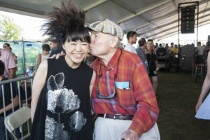 Hiromi Jazz pianist gets kiss on the cheek by George Wein