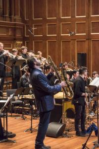 Boston NEC Jazz Orchestra Brian Landrus jazz baritone saxaphone